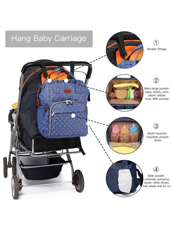 Μπλε Πουα Backpack για Καρότσι