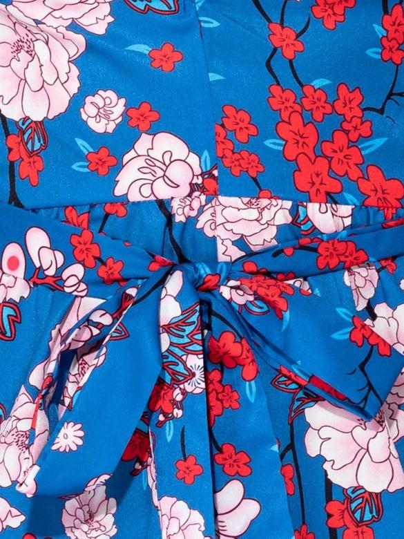 Μπλε Φλοράλ Μακρύ Φόρεμα