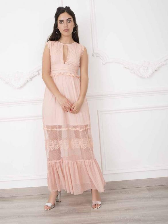 Elvida Ροζ Μακρύ Φόρεμα