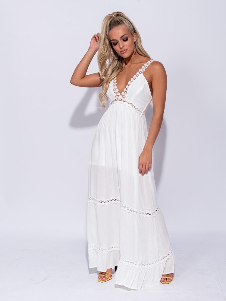 aeec7899bc5 Λευκό Φόρεμα Μακρύ