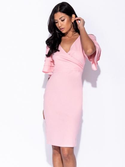 ροζ-μιντι-φορεμα-καλοκαιρινο-με-μανικια-3