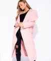 Ροζ Παλτό με γιακά και ζώνη