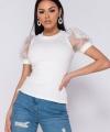 Άσπρο t-shirt με μανίκια οργάντζα