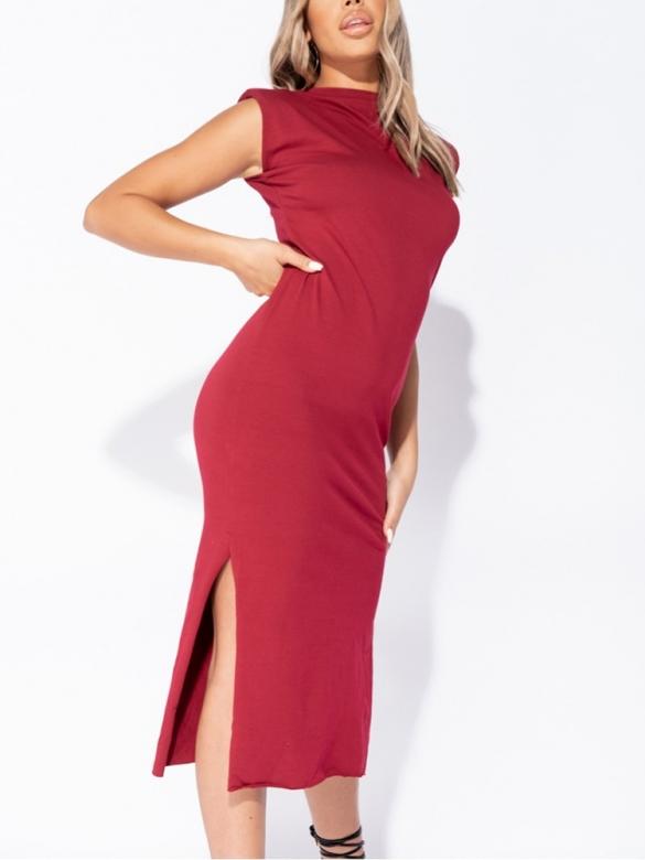 Μπορντό φόρεμα με σκίσιμο στο πλάι