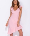 Ρόζ φόρεμα ασύμμετρο